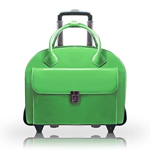"McKleinUSA W Series, Glen Ellyn, Top Grain Cowhide Leather, 15"" Leather Patented Detachable -Wheeled Ladies' Laptop Briefcase, Green (94361), 18 L x 9 W x 14 5 H"