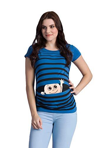 Winke Winke Baby - Lustige witzige süße Umstandsmode gestreiftes Umstandsshirt mit Motiv für die Schwangerschaft Schwangerschaftsshirt, Kurzarm (Dunkelblau, Medium)