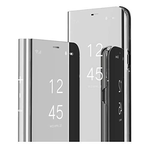 MRSTER Oppo Reno 4 5G Hülle Clear View Standing Cover, Spiegel Handyhülle Schutzhülle Flip Hülle Schutz Tasche mit Standfunktion 360 Grad hülle für Oppo Reno4 5G. Flip Mirror: Silver