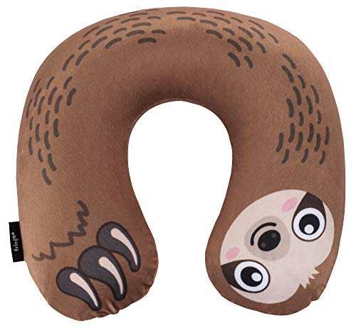 FRINGOO Inflatable Travel Pillow for Women Men Kids Soft Velour Neck Support Aeroplane Cushion Compact Unicorn Sloth Lama Rainbow (Sloth)