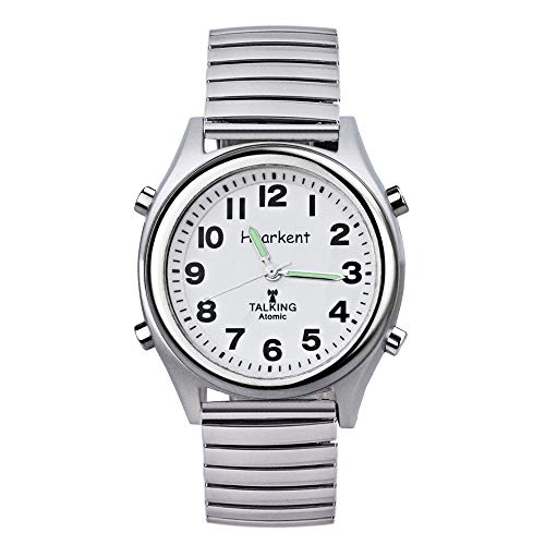 Atomic Talking Watch,Talking Watch for Visually impaired,Quartz Wrist Watch with Stainless Steel Expanding and Leather Strap,Gift for Elderly or Blind People (Silver case with Steel Expanding Band)