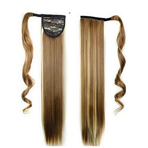 La perruque Hmj cheveux synthétiques longue ligne droite haute température envelopper de fibre autour de cheveux queue de cheval