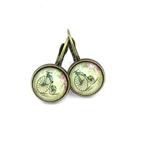 nostalgisches Fahrrad Ohrringe Damen Cabochon Ohrschmuck 12mm