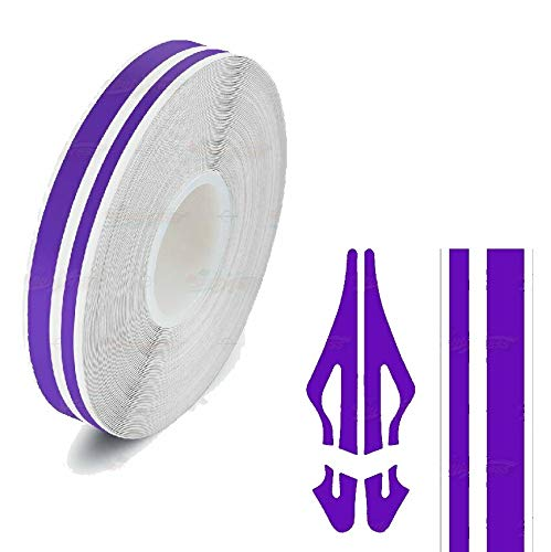 Decal Tape Vinyl Sticker for Vehicle Bodies & Parts Purple 1/2' PIN Stripe Double Line 32 ft Length for Cars Bumpers Models Helmets Motorcycles Dashboards Bodyworks