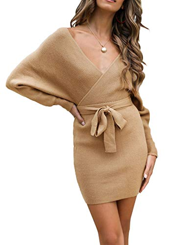 ZESICA Women's Long Batwing Sleeve Wrap V Neck Knitted...