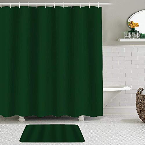 KISSENSU Badezimmer-Vorhang-Set,Dunkelgrün,Duschvorhang gedruckt wasserdichter Vorhang Badematte Fußmatte Wohnkultur,180 * 180CM Curtain