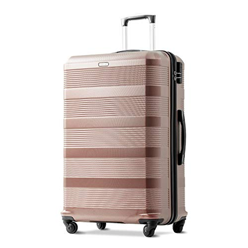 Merax 24 inches Champagne Suitcase, Super Lightweight ABS Hard Shell Travel Luggage with 360° Spinner Wheels Suitcase Free 3 Year Warranty