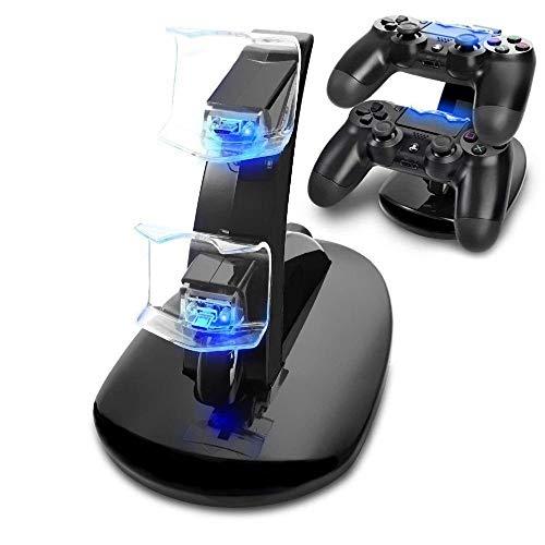 KONKY PS4 Cargador, Cargador Mandos PS4 Dualshock PS4 Estación de Carga USB Base de Carga para Sony Playstation 4/PS4/PS4 Pro/PS4 Slim Mando Inalámbrico Gamepad con Indicador del LED