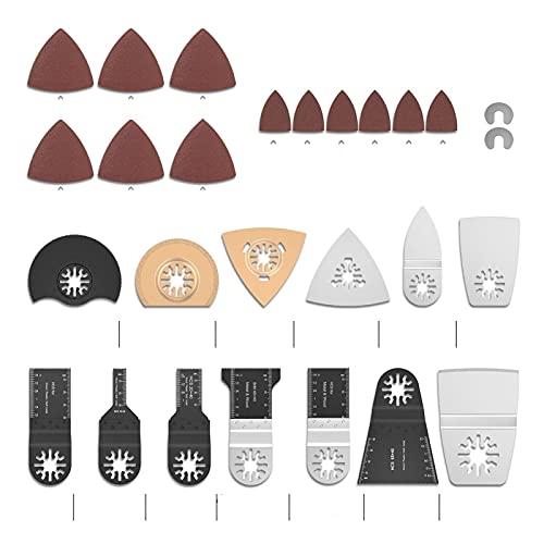ZLDDE Herramienta Multiple Hojas de Sierra oscilante Herramienta de Multítimo Universal Kit de liberación rápida de Madera/Metal para lijar, esmerilar y Cortar (Color : 120 Pcs)