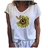 Dosoop Graphic T Shirts for Women Summer Sunflower Print Loose Casual Tee Shirts Cute Soft Loose V Neck Tops Blouse