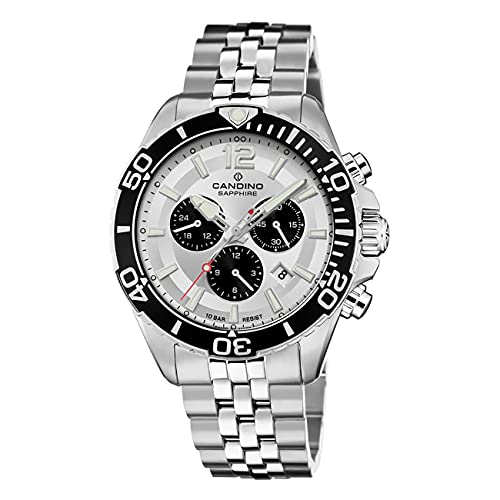 Candino Orologio da uomo C4714/1 in acciaio inox, con cronografo in argento...