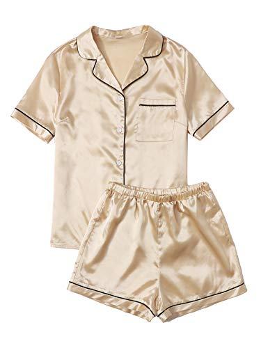 SweatyRocks Women's Short Sleeve Sleepwear Button Down Satin 2 Piece Pajama Set Gold X-Small