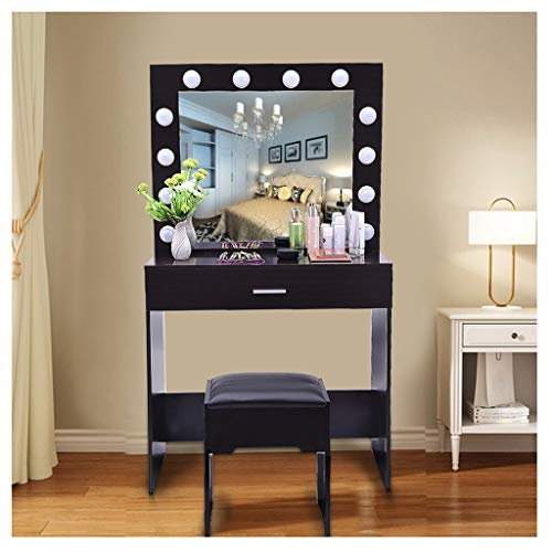 Best Price C-Easy Vanity Table Set, Modern Make Up Table with 12 Light Bulb, Bedroom Dressing Table ...