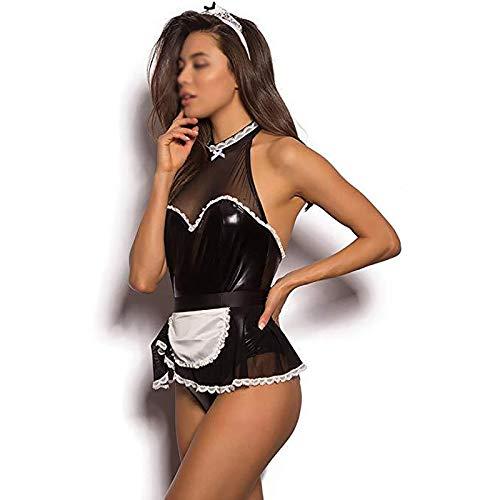 Mujer Lenceria Sexy de Charol Latex Mujer Cosplay Maid Traje Disfraz de Criada Criada Vestido Mini Corto Encaje 2 Pcs Babydoll Jumpsuit con Delantal Pijama Encaje Transparentes Adulto,L