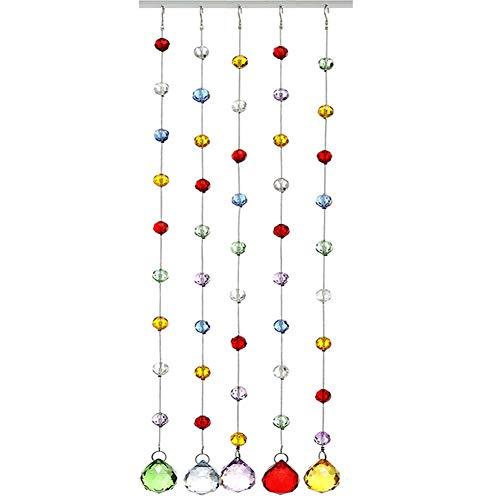 GDMING Kristallen glazen kralengordijn, deurgordijn, regenboog, draadgordijn, decoratie, wandplaat, ruimteverdeler, hangende kristallen kroonluchter kralen, aanpasbaar