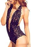 Womens Halter Lingerie Lace Teddy Bodysuit Nightwear Deep V Lace Babydoll Underwear Plus Size (S, A-Black)