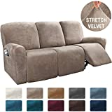 H.VERSAILTEX 8-Pieces Recliner Sofa Covers Velvet Stretch Reclining Couch Covers for 3 Cushion Sofa Slipcovers Furniture Covers Form Fit Customized Style Thick Soft Washable(Large, Taupe)