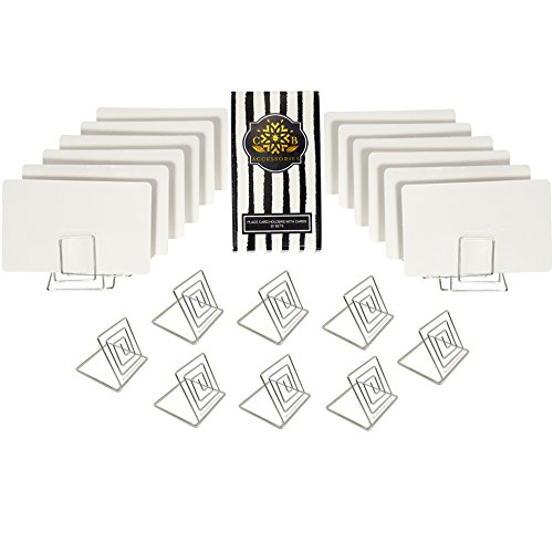 CB Accessories Table Card Holder Set of 20 Food Signs White Place Cards with Wire Stands for Weddings, Dinner Parties, Buffets, Table Numbers (Silver)