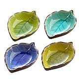 Hemoton 4 Piezas Cuencos de Inmersión de Cerámica Platillos de Porcelana en Forma de Hoja Platos de Salsa Plato de Aperitivos Cuencos de Aperitivos para Restaurante en Casa (Color Aleatorio)