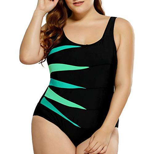 Kanpola Bademode für Mollige Einteiler Badeanzug Damen Große Größen Gepolstert Push Up Shape Schwimmanzug Gestreift Print Bikini Schlankheits Strandmode