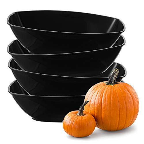Set of 4 -Luau Plastic Contoured Serving Bowls, Party Snack or Salad Bowl, 80-Ounce, Black