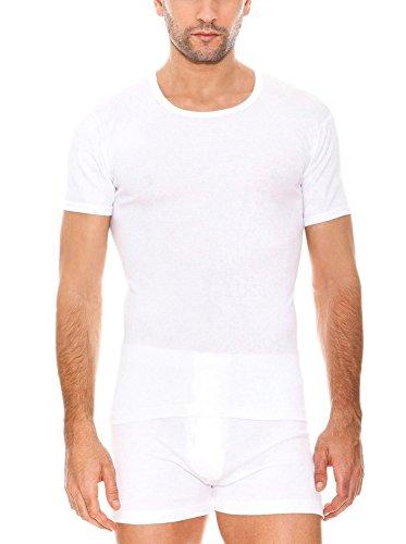 ABANDERADO Camiseta de Manga Corta Cuello Redondo de algodón canalé, Blanco, L para Hombre