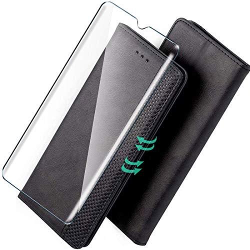 HYMY Hülle für Alcatel 3L 2020 + Schutzfolie - PU Leder Lederhülle Flip mit Stark magnetisch Card Slot Handyhülle Cover (Mit interner Hülle) Card Holder Alcatel 3L 2020-Black