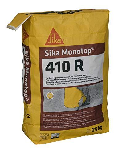 Sika Monotop 410 R, Mortier de réparation structurale fin, fibré et rapide, 25kg, Gris