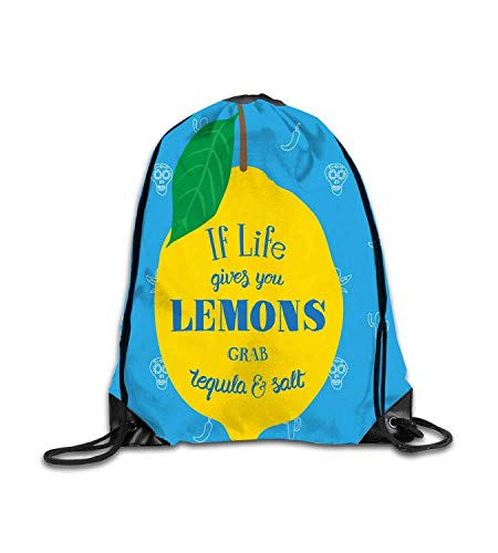 huatongxin Customized Backpack Funny Drinking Quote on Lemon with Mexican Themed Icons Sky Blue Mustard Green Caramel Fitness Beam Backpack, Sports Backpack, School Bag