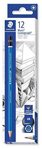 Staedtler 100-4B Mars Lumograph Zeichenbleistift (Härtegrad 4B, Sechskantform, unglaublich bruchfeste Premium-Bleistifte, hohe Qualität, 12 ST in der Faltschachtel)