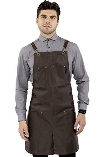 Real Leather Apron - Brown Leather Body, Pockets and Crossback Straps - Split-Leg, Lined - Adjustable for Men and Women - Pro Chef, Barista, Barber, Woodworker, Shop, Bartender, Maker