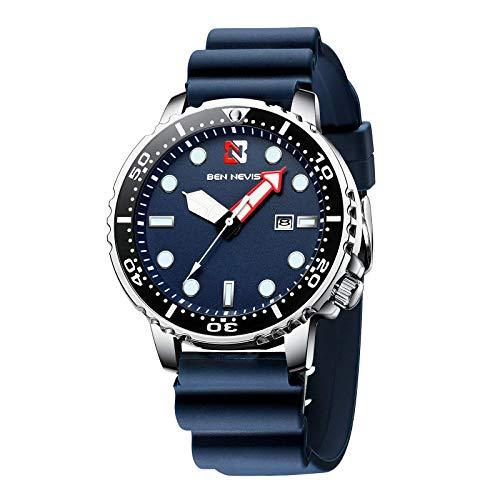 Herren Uhren Analog Quarz Uhr Männer Wasserdicht Datumsanzeige Sport Modisch Blau Zifferblatt Armbanduhr mit Silikon Armband