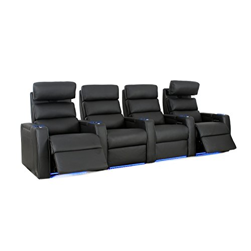 Octane Seating Dream HR Home Theatre Seats - Black Top Grain Leather - Power Recline - Row of 4