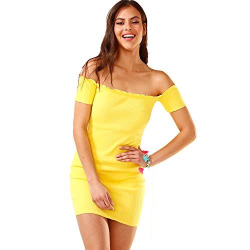 TREND CAPSULE Vestido canalé Escote Barco Mujer - 037738
