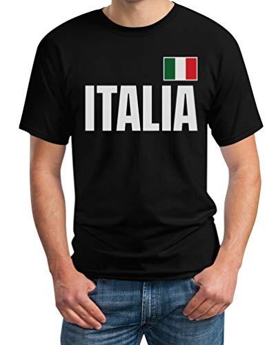 Italia Bandiera Calcio Nazionale Italiana Azzurri Maglietta da Uomo Small Nero