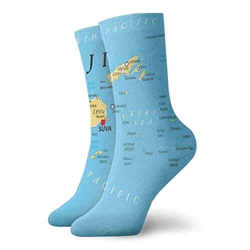 Calzini morbidi a metà polpaccio con mappa politica con capitale suva e principali città calzini decorativi per uomini donne