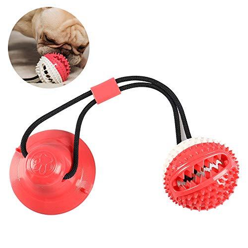SYWAN Giocattolo per Cani, Durevole Palla della Molar Corda del Rimorchiatore del Cane con Corda Elastica E Ventosa, Giochi da Masticare Palla Giocattolo Resistente del Morso di Cane(Rosso)