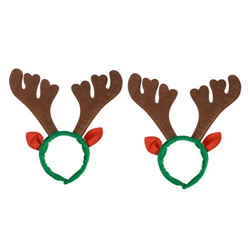 Amosfun 2 x Weihnachtliches Rentier-Geweih Stirnband Haarband mit Rentier-Ohren für Kinder und Erwachsene, Weihnachten, Party, Gastgeschenke, Foto-Requisiten