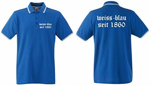 München Herren Retro Poloshirt Weiss-blau seit 1860 Löwen Shirtroyalblau-L