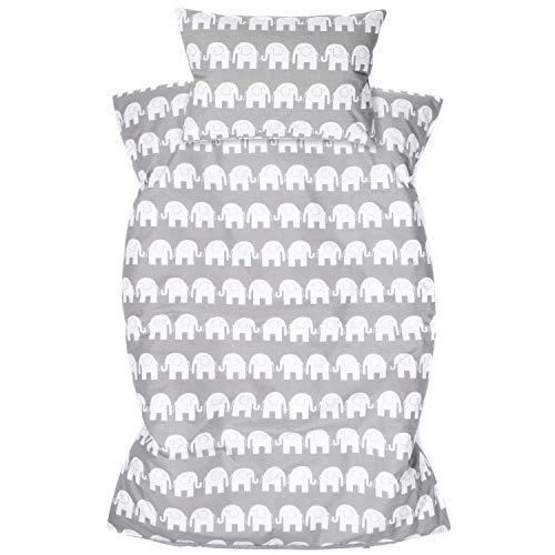Amilian Kinderbettwäsche 2-teilig 100% Baumwolle Kinder Bettwäsche Babybettwäsche für Baby Bettbezug 100 x 135 cm, Kopfkissenbezug 40 x 60 cm, mit Hotelverschluß Elefant Grau Zickzack Grau