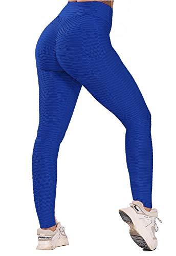 FITTOO Leggings Push Up Mujer Mallas Pantalones Deportivos Alta Cintura Elásticos Yoga Fitness #5 Azul Chica