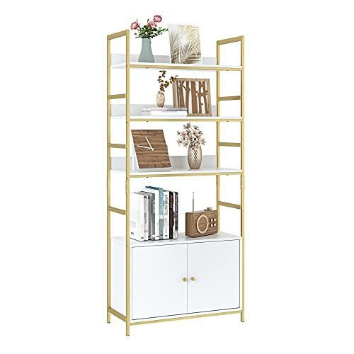 Industrial Bookcase with 2 Cabinets, 3-Tier Free Standing Open Shelf Display Storage Rack Shelves, 31L x 11.8W x 70.8H Inch Wood Look Accent Metal Frame Furniture for Home Office, White/Gold
