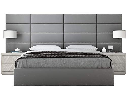 Vänt Upholstered Wall Panels - King/Cal King Size Wall Mounted Headboards - Plush Velvet Smoke Gray - Pack of 4 Panels (Each Individual Panel 39'x11.5')
