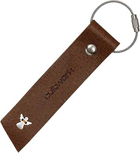 Brown Bear Schlüsselanhänger Schutzengel Leder Braun Vintage Used-Look originelle Echtleder Geschenk-Idee Hand-Made Cultwerk K-31 Angel br