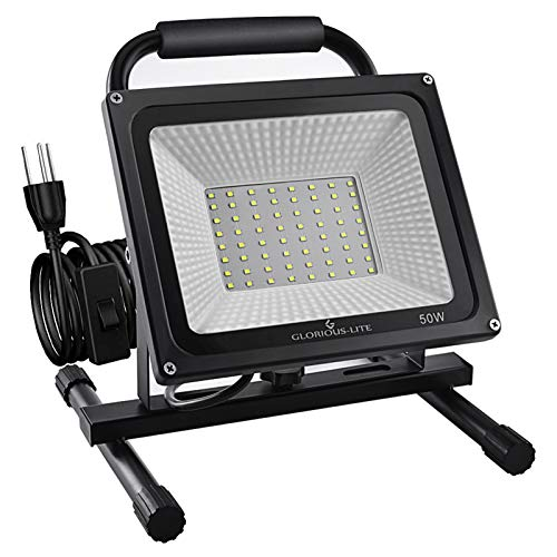 GLORIOUS-LITE 50W LED Work Light, 5000LM Super Bright Flood Lights, 400W Equivalent, IP66 Waterproof, 16ft/5m Cord with Plug, 6500K, Adjustable Working Lights for Workshop, Garage, Construction Site