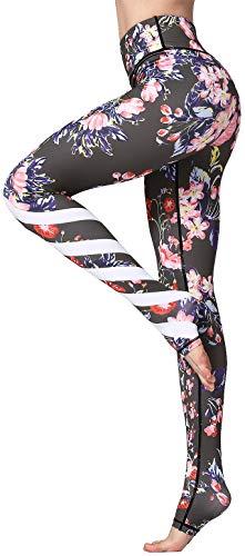 FLYCHEN Leggings Estampado Floral para Mujer Deportiva Fitness Push Up Yoga de Alta Cintura Elásticos Galaxy Star Impreso Traje de Running Galaxia Estrella HK187 - M