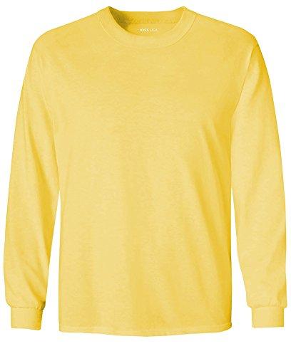 Joe's USA Youth Long Sleeve Heavyweight Cotton T-Shirts,Yellow,Medium