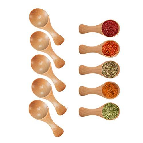 Lot de 5 mini cuillères à sel en bois avec poignée courte, idéales pour petits pots de confiture, épices, sucre, miel, café, thé, moutarde, crème glacée, poudre de lait