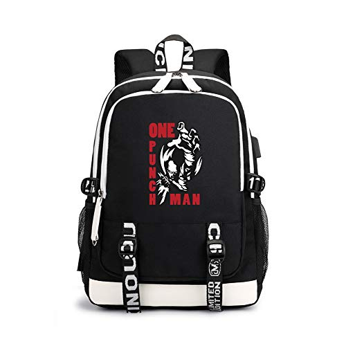 One Punch Man Casual Backpack Classic Vintage Casual Canvas Backpack Travel Rucksack Satchel Backpack Camping Backpack for Men Unisex (Color : Black01, Size : 30 X 15 X 43cm)