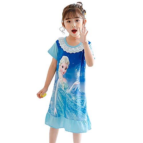 DTZW Camisn de manga corta con diseo de personajes de princesa para nias, pijama cmodo de 3 a 14 aos (tamao: 9 a 10 aos, color: B)
